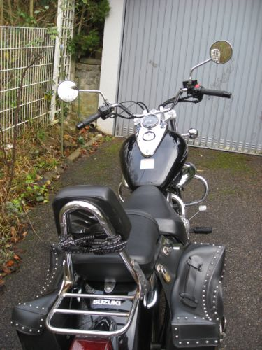 "Picture 30: My motor-bike ""SUZUKI Intruder 125"" / viewed from behind - the Sissybar"