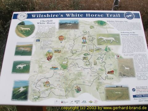 Picture: General map of Wiltshire′s White Horse Trail, England